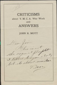 Read a booklet written by John Mott to answer criticisms about the YMCA's war work.
